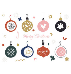 christmas set with balls and baubles scandinavian vector image