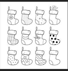 christmas stockings set hand drawn vector image