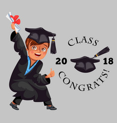 Class of 2018 congrats colorful flat poster with vector