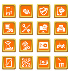 computer repair service icons set orange square vector image