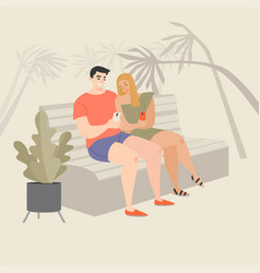 couple sitting on a bench and using smartphones vector image