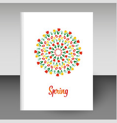 Cover of diary notebook hardcover spring mandala vector