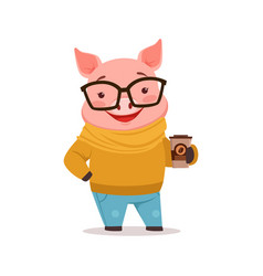 Cute happy pig dressed up in sweater and jeans vector