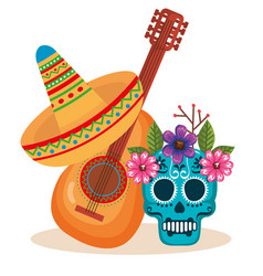 Day of the dead mask with guitar vector