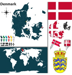 Denmark map world vector image