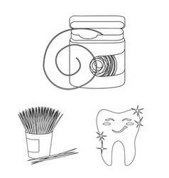 Dental care outline icons in set collection vector
