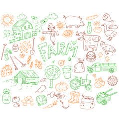 Doodle farming icons set vector