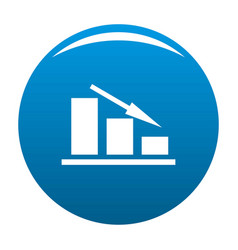 down chart icon blue vector image