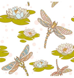 Dragonfly lotus seamless vector