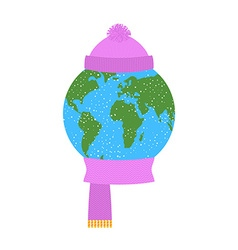Earth winter Planet in knitted hat and scarf vector image