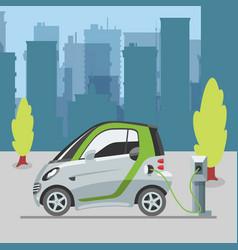 Eco transport e-car ecological electromobile vector