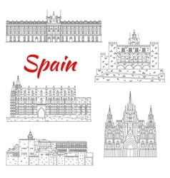 Famous tourist sights of Spain thin line icon vector image