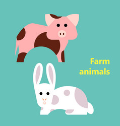 farm animals pig and rabbit vector image