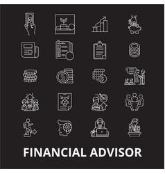 Financial advisor editable line icons set vector
