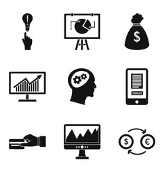 financial calculation icons set simple style vector image