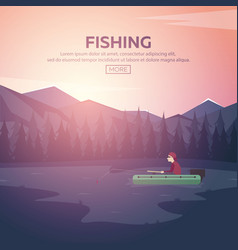 Fishing on a mountain lake sunset in the vector