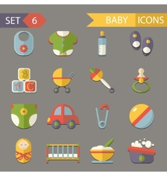 flat baby and childhood icons symbols set vector image