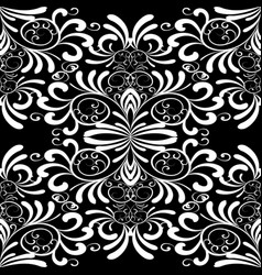 Floral black and white seamless pattern damask vector