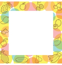 Fruits Outline Icons On Border vector