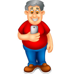 Funny old man with handphone cartoon vector
