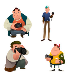 Funny photographer characters holding a camera vector