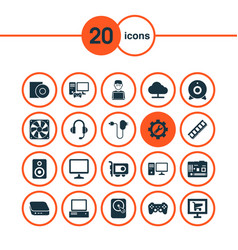 Gadget icons set with mainframe hardware vector