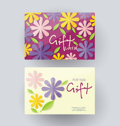 Gift card design template with floral decoration vector