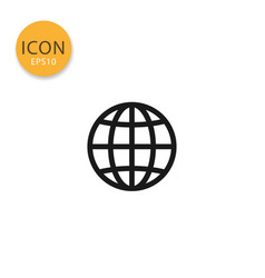globe icon isolated flat style vector image