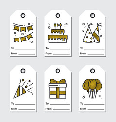 Golden birthday tags design on white background vector