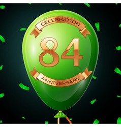 Green balloon with golden inscription eighty four vector