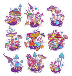 Groups of decorative mushrooms vector