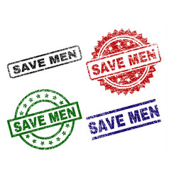 grunge textured save men seal stamps vector image
