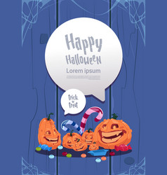 happy halloween party banner pumpkins traditional vector image