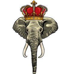 Head elephant king animal artwork vector