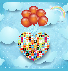 Heart and balloons vector