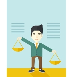 Japanese man holding a weighing scale vector
