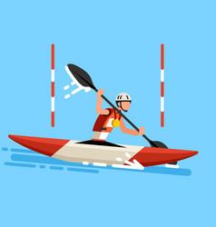 Kayak slalom canoe race symbol vector