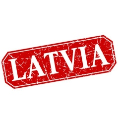 Latvia red square grunge retro style sign vector image
