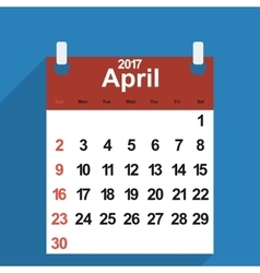 Leaf calendar 2017 with the month of April days vector image