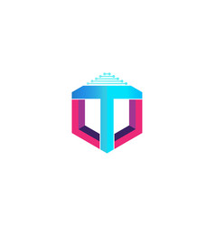 letter t hexagon technology logo designs vector image