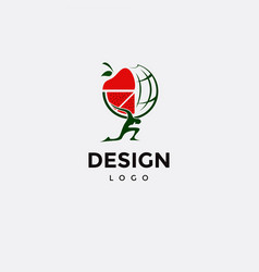 Logo design atlas icon carrying fruits vector