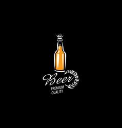 logo with a drawn beer mug on a black vector image