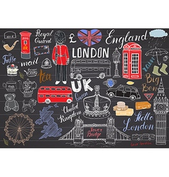 London city doodles elements collection hand drawn vector