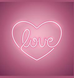 Love neon sign rose vector