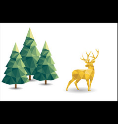 low poly christmas scene with reindeer and pines vector image