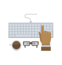 Man hand typing on computer keyboard isolated in vector