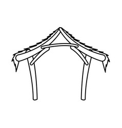 manger hut wooden decoration nativity outline vector image