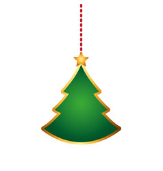 Merry christmas pine tree hanging vector