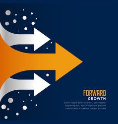 Moving forward and leading arrow concept template vector