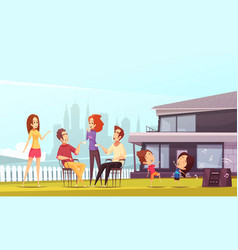 Neighbors party cartoon vector